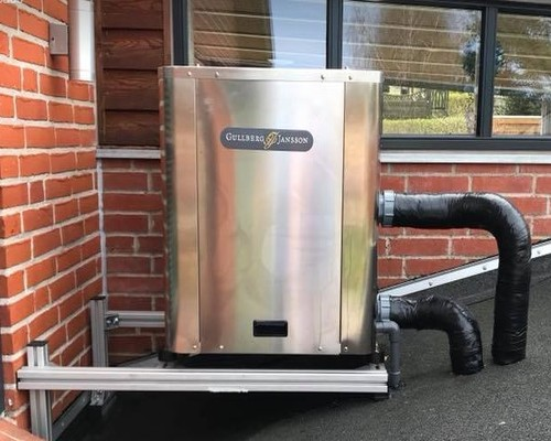 Monteret Gullberg Jansson varmepumpe hos kunde i Silkeborg